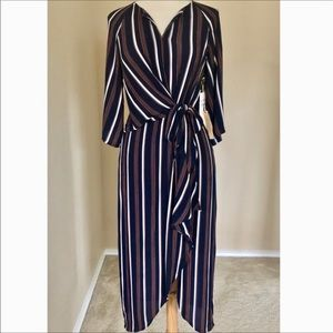 Gibson Latimer Navy Striped Dress NWT